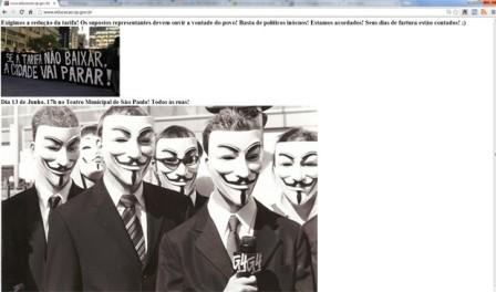 Site da Secretaria de Estado da Educação é hackeado. Invasores deixam mensagens pedindo redução nos preços das tarifas de transportes. (Foto: Reprodução)