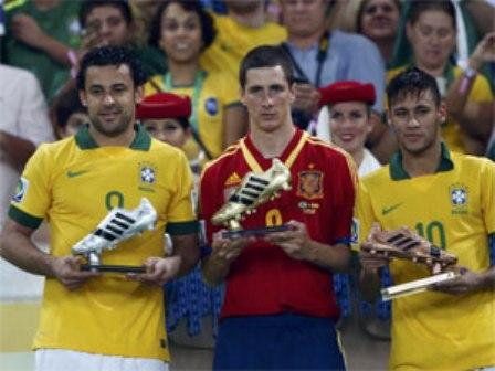 Artilheiros da Copa das Confederações, Fred, Fernando Torres e Neymar também fora escolhidos para integrar seleção da Copa das Confederações (Foto: Reuters)