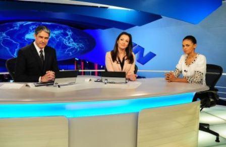 Presidenciável do PSB foi entrevistada pelos jornalistas William Bonner e Patricia Poeta (FOTO: JOÃO COTTA/GLOBO)