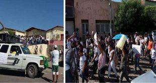 Funcionários protestaram com faixas e cartazes   Fotos: Divulgação