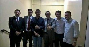 Diego Feitosa e advogados acompanharam o julgamento no TRE (Foto: Reprodução)