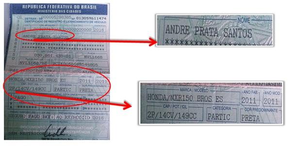 O documento estava com a vitima, mais a moto não foi encontrada | Foto: Divulgação