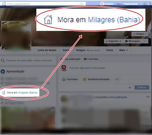 Perfil indicando a falha do Facebook