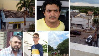 Ao lado direito da tela o Banco do Brasil, abaixo o Sr. João Magalhães e seu filho de 13 anos Vinicius Magalhães (reféns mortos), ao centro um dos bandidos pegos na ação e o helicóptero da Coordenadoria Integrada de Operações Aéreas – Ciopaer | Fotos Divulgação