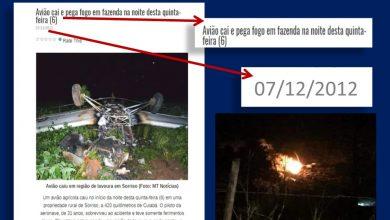 Uma das fotos divulgadas se refere a queda de um avião, outra mostra alguma coisa queimando ao solo | Imagens reprodução redes sociais