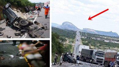 O acidente ocorreu na Br 116 em Milagres, mas a serra ao fundo, acusa que é em Milagres da Bahia | Imagens reprodução G1