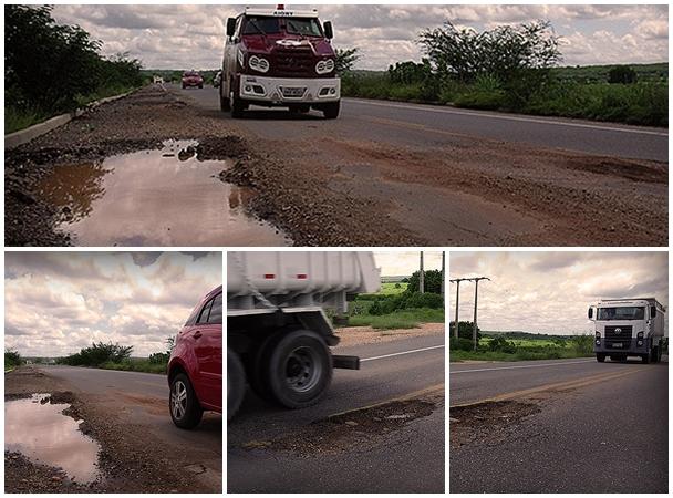 Para desviar dos buracos na pista carro faz manobra arriscada | Foto:  | Agência OKariri